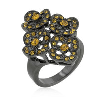 Black Mystique Yellow Crystal Floral Ring, size : 06
