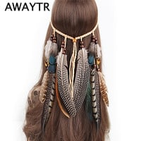 Feather Headband Women Festival Feather Headband Hippie Headdress Hair Accessories Boho Peacock Feather Headdress