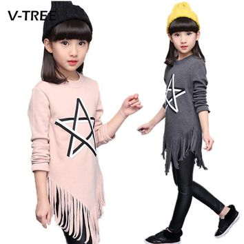 V-TREE Spring Teenagers Dress Tassel Girls Dress Clothes Long Leeve 10 12 13 Years Dress For Girl School Kids Fashion Dress