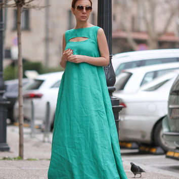 Long green dress, Linen dress women, Maxi dress, Summer dress, Sleeveless dress, Linen, Linen clothing, Dresses for women, Kaftan D29016