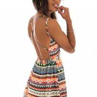 Multi Color Aztec Dress with Criss Cross Open Back