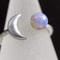 NEW: Crescent Moon Ring with genuine vintage fire opal stone. Adjustable. Stackable. Silver.