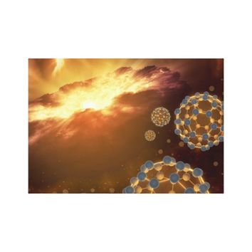 Bulky balls in space stretched canvas print