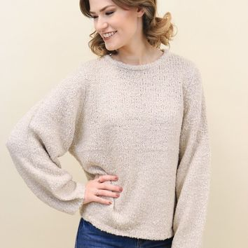 Wide Sleeve Boucle Sweater