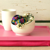 Breakfast serving or Laptop Lap Desk- Hot Pink with linen fabric pillow- Custom Order