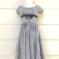 Vintage White and Black Striped Party Dress, Pixie of California Rockabilly Dress, Size XXS, circa 1950s-1960s
