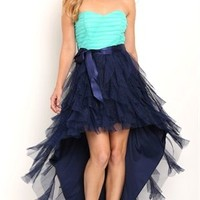 Strapless High Low Two Tone  Homecoming Dress with Tie Waist