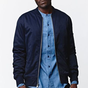 Modern Amusement Twill Bomber Jacket - Mens Jacket - Blue