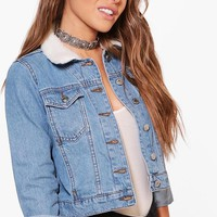 Petite Jasmin Borg Collar Denim Jacket | Boohoo