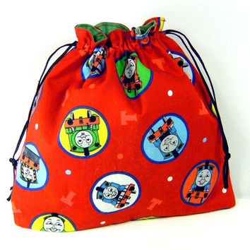 Eco-friendly Reusable Drawstring Bag - Gift bag pouch train red boy toddler kid party favor storage cotton - Sac réutilisable tout usage