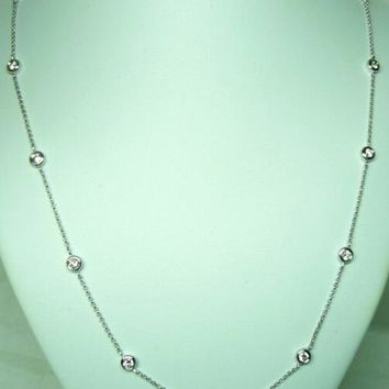 14 Karat White  Gold Diamond By The Yard Necklace 0.52ct
