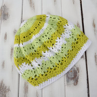 Women crochet beret, lace tam hat, slouchy hat, Knit beret hat, green and yellow tam hat