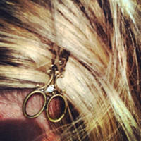 Beautiful Bronze Scissor Necklace with matching Bobby pin gift / present / hairdresser / hair stylist