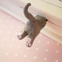 Gray Cat Bookmark - Polymer Clay Cat - Funny Bookmarks - Unique Gift Idea - Book lover gifts - Crazy Cat lady - Animal Book Marks - Fimo