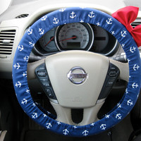 Nautical Nancy Navy Blue Anchor Steering Wheel Cover with Matching Red Bow