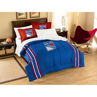New York Rangers NHL Embroidered Comforter Set (Twin/Full) (64 x 86)