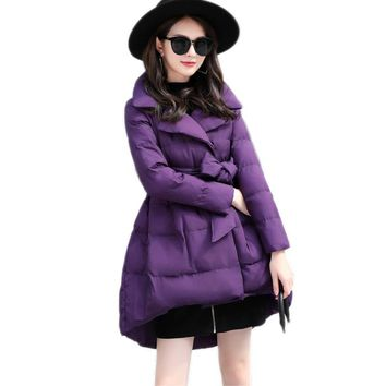 Padded Cotton Women New Winter Korean Slim Puff Down Solid Color Warm A-Line Mujer Jacket Femme Parkas Cute Coat MZ2057