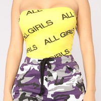All Girls Tube Top - Yellow/Black