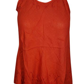 Mogul Interior Daisy Womens Tank Top Embroidered Red Sleeveless Beautiful Hippie Girl Casual Shirt X-S