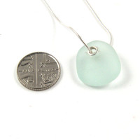 Pale Blue Sea Glass, SS Grommet, Pendant Necklace with Sterling Silver Chain