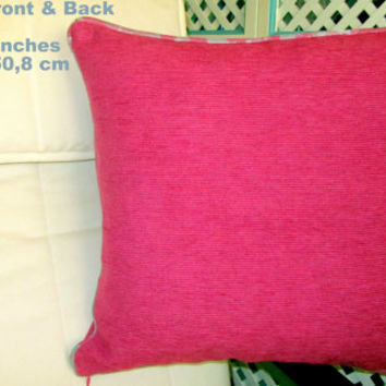 "Plain pink Chenille 20"" piped pillow cover – Velvet piping"