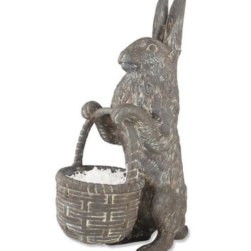 Large Stone Easter Rabbit with Basket