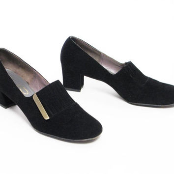 vintage 60s Florsheim Serenades black suede leather heels shoes pumps fashion sz 7