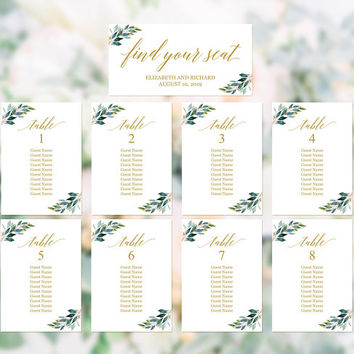 Greenery gold seating chart template, DIY printable table plan, Modern elegant rustic wedding reception hanging seating chart cards download