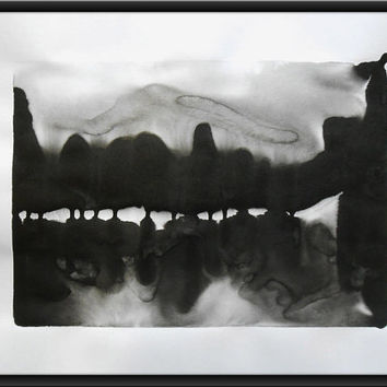 "A2 Modern Abstract Black and White Ink Wash Painting 16.5x23.4 "" River Between 321"""