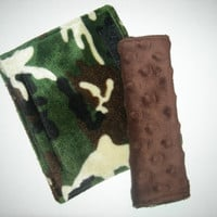 Camouflage Double Minky Reversible Car Seat Strap Covers