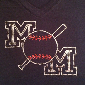 Navy Vneck Fitted Shirt with Rhinestone Baseball Mom Transfer (Can be personalized with player number in ball)  (MADE TO ORDER)