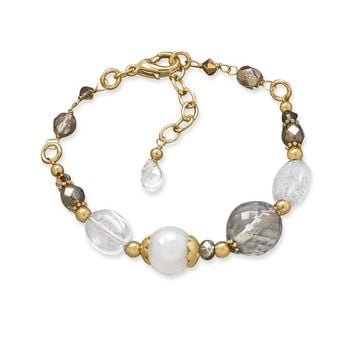"7.75"" + 1"" Gold Tone Multistone Fashion Bracelet"