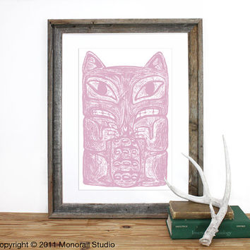 Native American Fox Totem Pole Print 12 x 19 in Pick your color