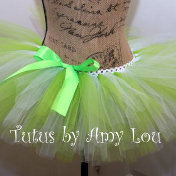 Edgy Spark Pattern Race Running Tutu in Lime Green and White; Adult Women Sizes