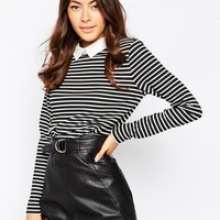 Only Stripe Collared Long Sleeve Top