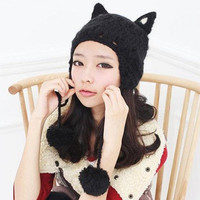 Cute Yarn Ball Pendant and Cat Ear Decorated Knitted Hat For Women