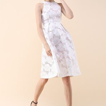 Uniqueness Floral Cut-Out White Dress