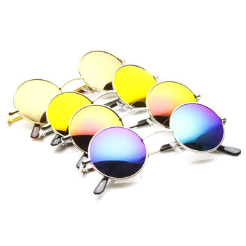Retro Round Circle Metal Mirror Lens Sunglasses 1408 [4 Pack]