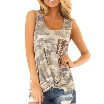 New Design Tank Top Fashion Summer Women Sleeveless Sequin Pocket Front Knot Camouflage Print Tank Top