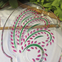 Vintage Federal Glass Homestead Hospitality Hand Painted Snack Luncheon Plates and Two Cups - Set of Two - Pink and Green