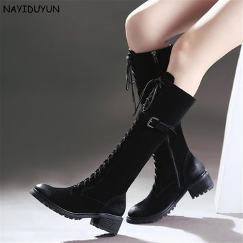 NAYIDUYUN    New Fashion Women Black Lace Up Full Cow Leather Knee High Riding Boots Round Toe Cuban Heels Party Pumps Shoes