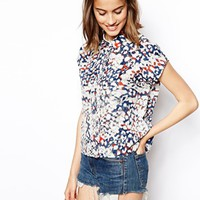 ASOS Short Sleeved Blouse with Animal Print - Multi