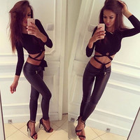 Women's Fashion Crop Top Irregular Long Sleeve T-shirts [9515518852]