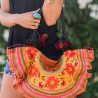 Half Moon Gypsy Floral Tapestry Bag