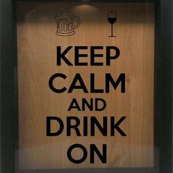 "Wooden Shadow Box Wine Cork/Bottle Cap Holder 9""x11"" - Keep Calm and Drink On with Mug and Glass"