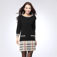 2016 New Spring Short Mini Knitted Wool Sweater Dress Fashion High Quality Warm Women Sweater and Pullovers 4 Colors