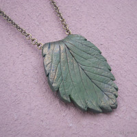 Green leaf pendant necklace Polymer clay leaf pendant Nature inspired realistic leaf jewelry Nature green pendant from clay