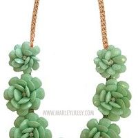 Mint Green Rosette Statement Necklace