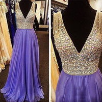 2016 Evening Dress,Purple Prom Dress,V neck prom dress,Charming prom dress,Long prom dress,BD171