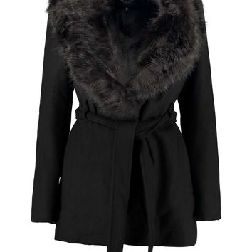 Tia Shawl Faux Fur Collar Wool Look Coat